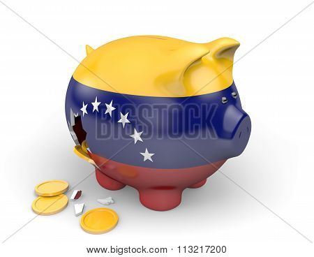 Venezuela economy and finance concept for poverty and national debt