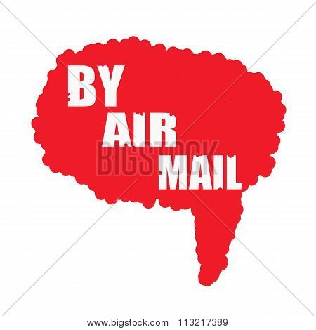 By Air Mail White Stamp Text On Blood Drops Red Speech Bubbles