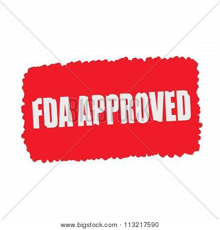 Fda Approved White Stamp Text On Blood Drops Red Background