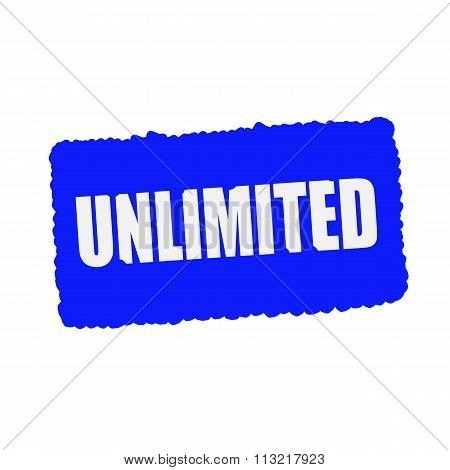 Unlimited White Stamp Text On Blue Background