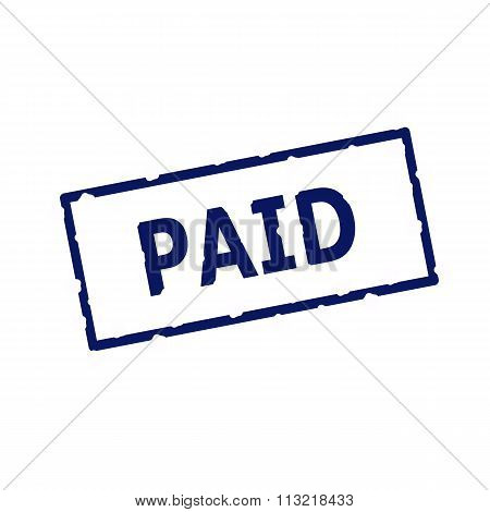 Paid Blue Stamp Text On Rectangular White Background