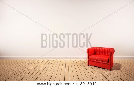 Oak wood floor and white wall, with red armchair, 3d rendered