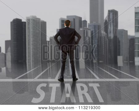 Startup. Businessman looking at city. Business concept
