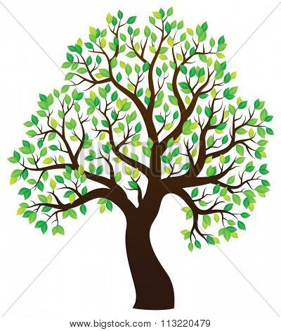 Silhouette of leafy tree theme 1 - eps10 vector illustration.