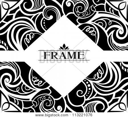 Illustration of a Diamond Shaped Frame Decorated with Black Swirls