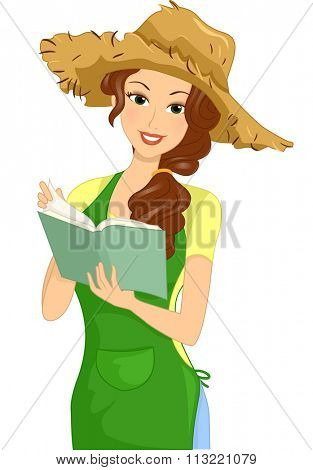 Illustration of a Woman Writing on a Gardening Journal