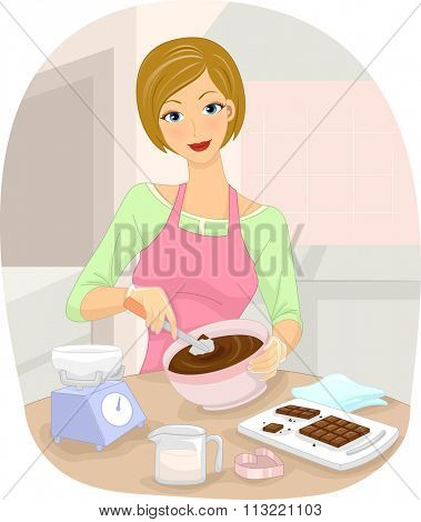 Illustration of a Woman Making Homemade Chocolates