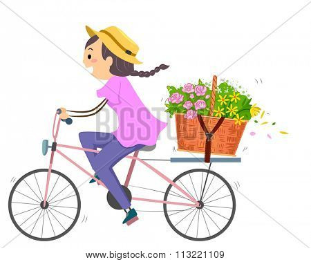 Illustration of a Woman Using a Bike to Deliver a Basket of Flowers