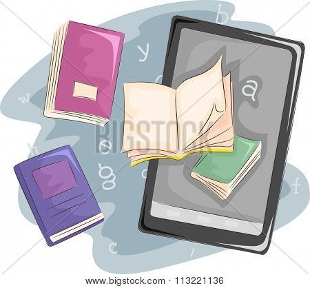 Illustration of Books Sitting Side by Side with an Ebook Reader