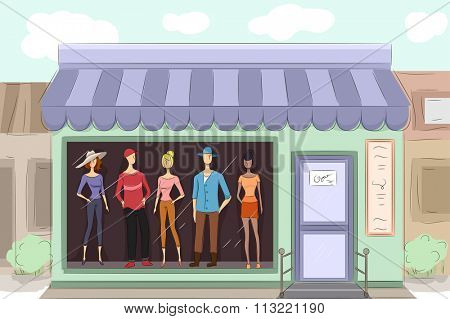 Illustration of a Boutique Displaying the Clothes They Sell
