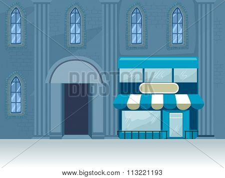 Illustration of the Facade of a Building with One Side Covered by an Awning