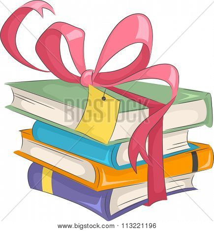 Illustration of a Stack of Gifts Bound by a Pretty Ribbon