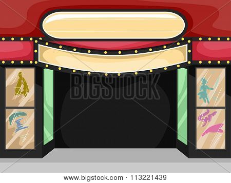 Illustration of a Theater Sign with a Blank Sign Above It