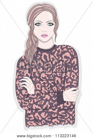 Young Girl With Animal Print Jumper. Fashion Illustration