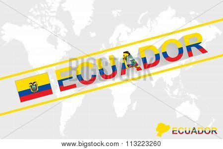 Ecuador Map Flag And Text Illustration