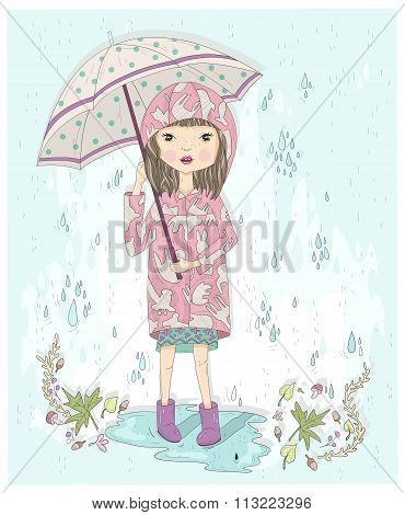 Cute Little Girl Holding Umbrella. Autumn Background With Rain, Leafs And Puddle. Illustration For K