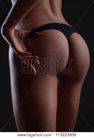 Closeup Woman Beautiful Buttocks  In Black Lingerie