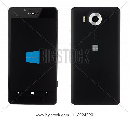Varna, Bulgaria - December 10, 2015: Cell Phone Model Microsoft Lumia 950 Has 20 Mp Camera, Microsof
