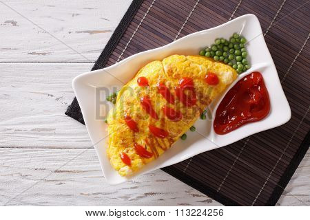 Omurice Omelet Stuffed With Rice. Horizontal Top View