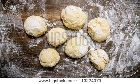 Preparation Of The Dough. The Prepared Dough With Flour.