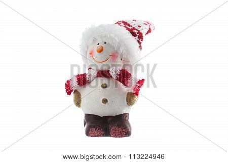 Christmas Snowman Toy Isolated On A White Background