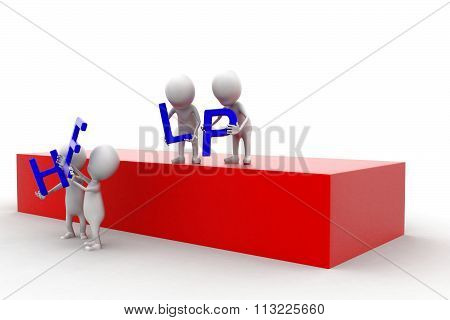 3D Group Of Men Helping To Move Help Text Concept