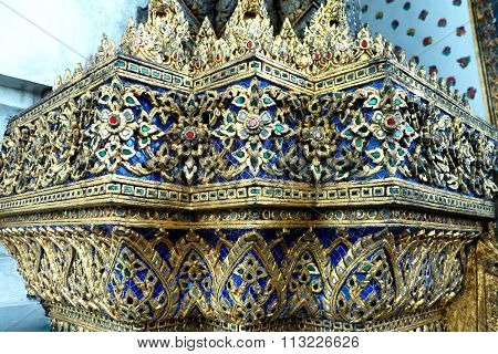 Thai Glass Mosaic Wall Decorative Ornament From Colorful Glass In Wat Phra Chetuphon Vimolmangklarar