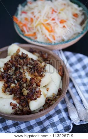 vareniki and coleslaw