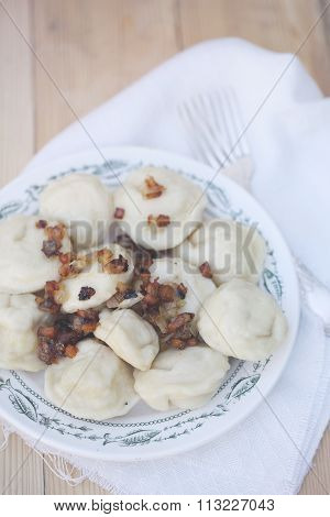 ravioli with bacon, top view