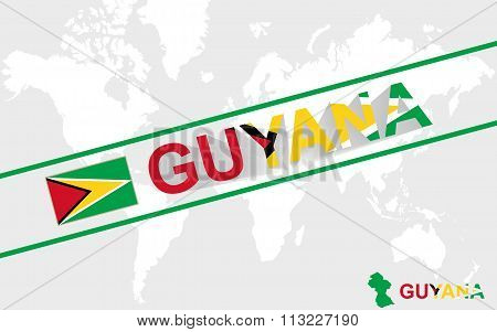 Guyana Map Flag And Text Illustration