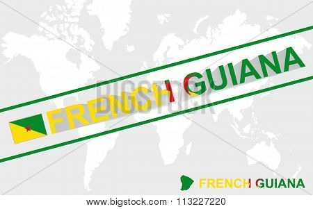 French Guiana Map Flag And Text Illustration