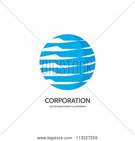 Abstract vector logo concept illustration. Abstract stripes in circle. Sphere vector logo.
