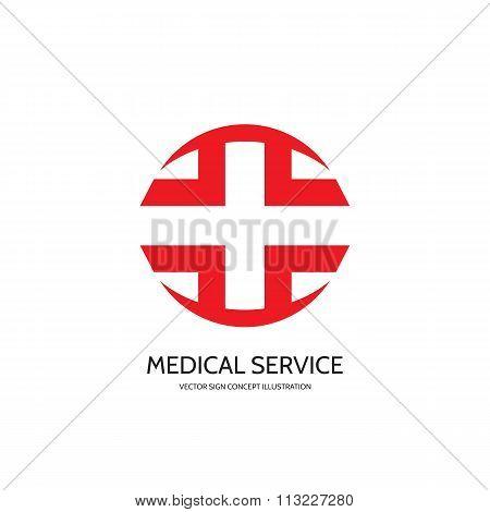 Medical cross vector logo concept illustration. Medicine symbol. Apotheke vector logo sign.