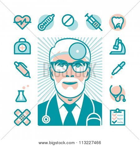 Medicine doctor with Fat Line Icons for web and mobile. Modern minimalistic flat design elements of medicine diagnostic, prescription, health care equipment, medical service