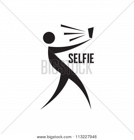 Selfie vector logo. Selfie vector sign. Selfie graphic illustration. Self portrait concept.