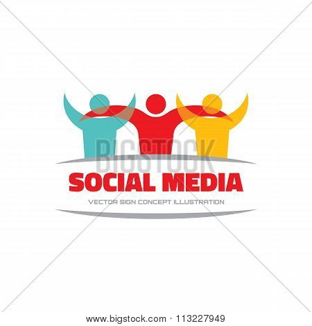 Social media - vector logo concept illustration. Human character logo. People logo. Abstract people