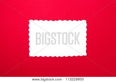 Vintage White Paper On Red Background