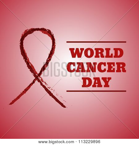 Vector Hand Drawn Illustration Of Red Ribbon Aids Symbol. Concept Cancer Day. Abstract Grunge Backgr