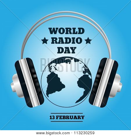 World Map With Headphones. Music Concept Radio Day Eps 10