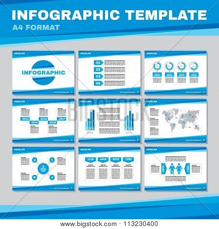 Infographic template in A4 format in blue color. Infographic vector pages in A4 format.