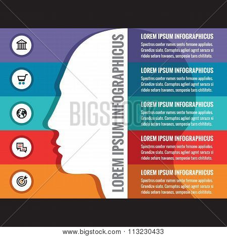 Infographics business concept with human head - creative vector layout. Design elements.