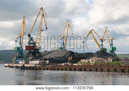 MURMANSK, Russian federation - august 05 2010, coal loading in port Murmansk