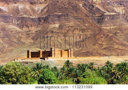 Moroccan kasbah in Draa Valley, Africa