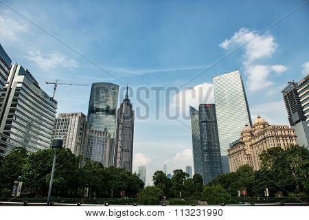 GUANGZHOU, CHINA - Pearl River Tower and Grand Hyatt Hotel,