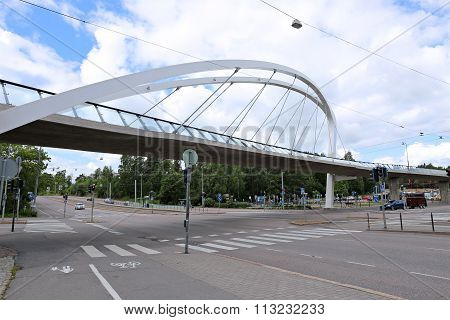 Cable-stayed Bridge Across The Street In Helsinki