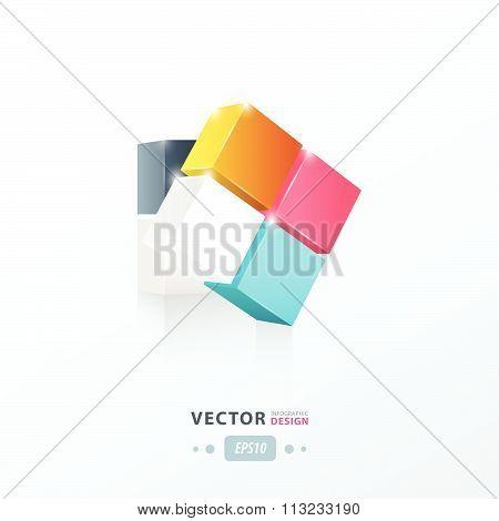 3D Cube Green Pink, Blue, Yellow