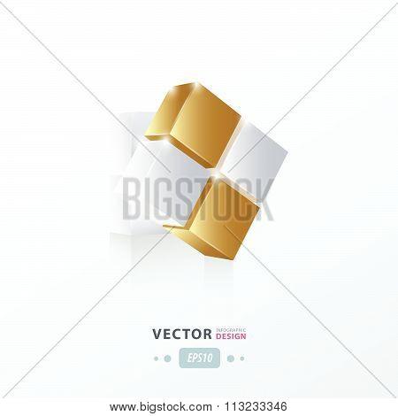 3D Cube Twist  Gold Style