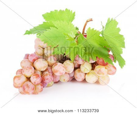 Bunch of red grapes with leaves. Isolated on white background
