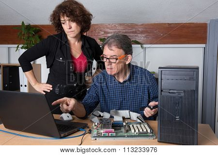 Man And Woman Working On Computer In The Laboratory