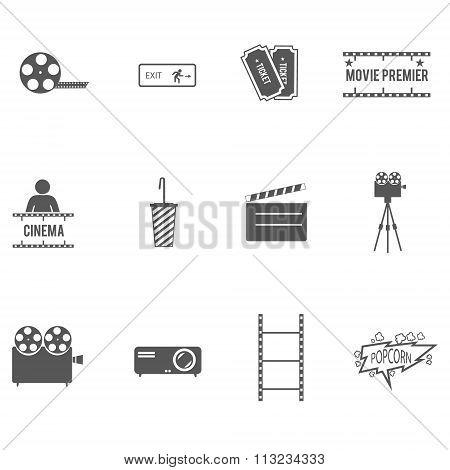 Movie cinema icons set